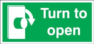 Clockwise Turn To Open Safety Sign - Landscape