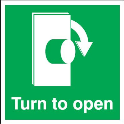 Clockwise Turn To Open Safety Sign