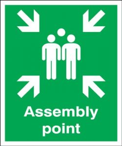 Assembly Point Fire Action Safety Sign - Portrait