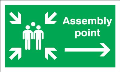 Assembly Point & Arrow Right Fire Action Safety Sign - Landscape