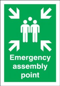 Emergency Assembly Point Fire Action Safety Sign