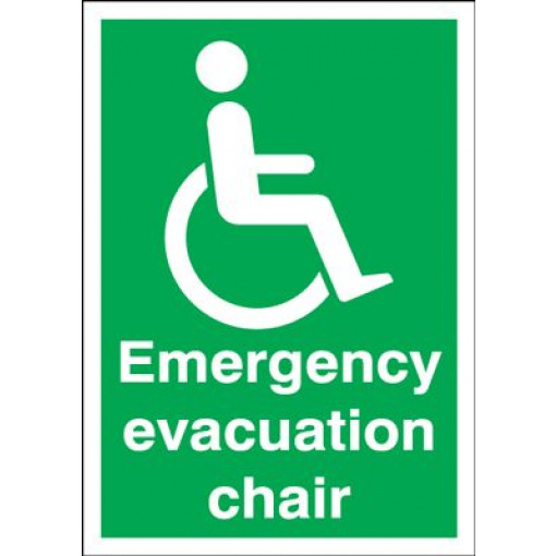 Emergency Evacuation Chair Fire Action Safety Sign