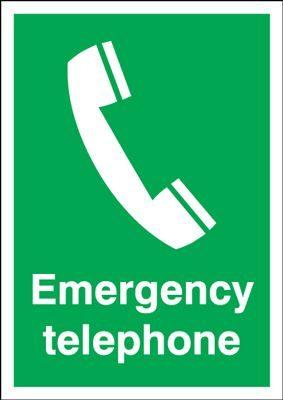 Emergency Telephone Safety Sign - Portrait
