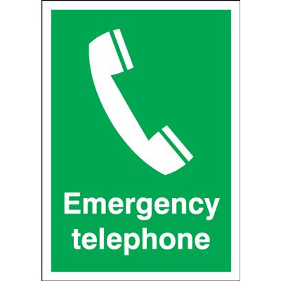 Emergency Telephone Safety Sign - Portrait