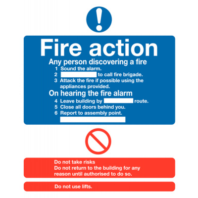 Fire Action Safety Sign - Portrait