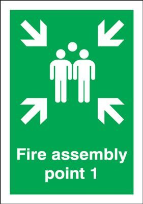 Point 1 Fire Assembly Safety Sign - Portrait