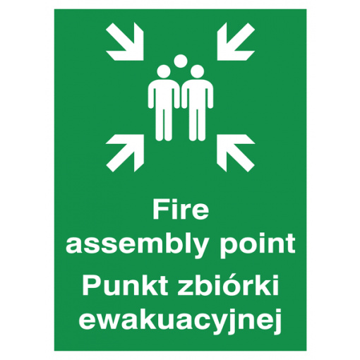 Polish / English Fire Assembly Point Multilingual Safety Sign