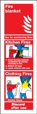 Fire Blanket For Use On Fire Extinguisher Safety Sign - Portrait