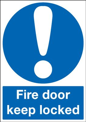 Fire Door Keep Locked Mandatory Safety Sign - Portrait