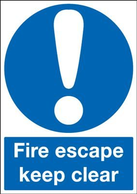 Fire Escape Keep Clear Mandatory Safety Sign - Portrait