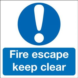 Fire Escape Keep Clear Mandatory Safety Sign