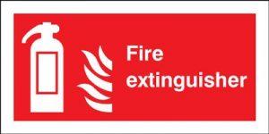 Fire Extinguisher & Flames Safety Sign - Landscape