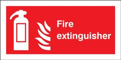 Fire Extinguisher & Flames Safety Sign - Landscape