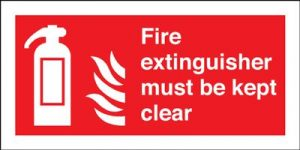 Fire Extinguisher Must Be Kept Clear Safety Sign - Landscape