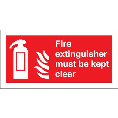Fire Extinguisher Must Be Kept Clear Safety Sign - Landscape