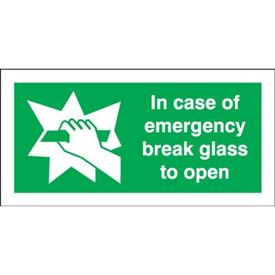 In Case Of Emergency Break Glass To Open Safety Sign - Landscape