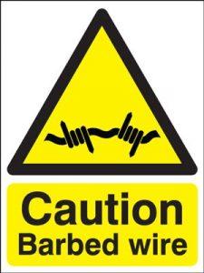Caution Barbed Wire Hazard Safety Sign