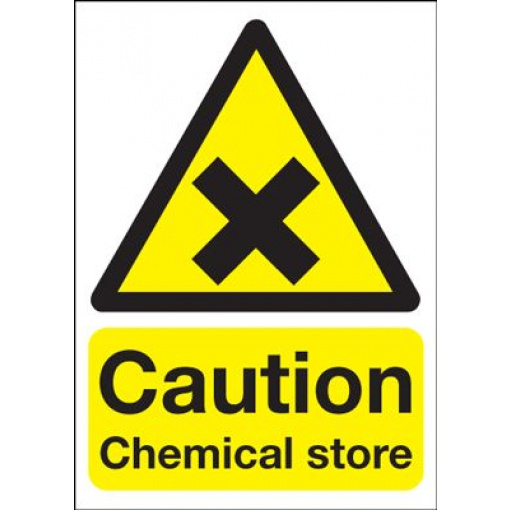 Caution Chemical Store Safety Sign - Portrait