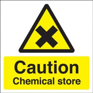 Caution Chemical Store Safety Sign - Square