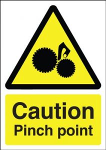 Caution Pinch Point Safety Sign - Portrait