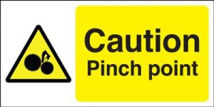 Caution Pinch Point Safety Sign - Landscape