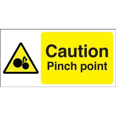 Caution Pinch Point Safety Sign - Landscape