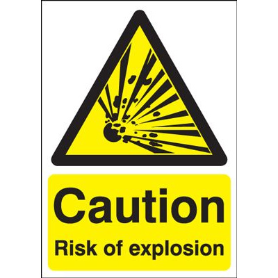 Caution Risk Of Explosion Safety Sign - Portrait