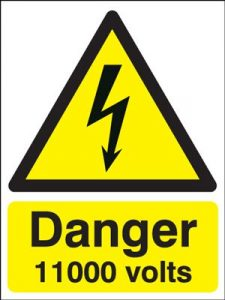 Danger 11000 Volts Hazard Safety Sign