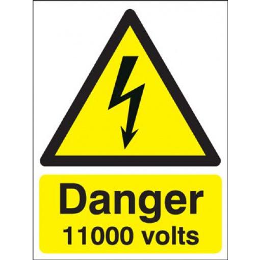 Danger 11000 Volts Hazard Safety Sign