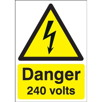 Danger 240 Volts Hazard Safety Sign