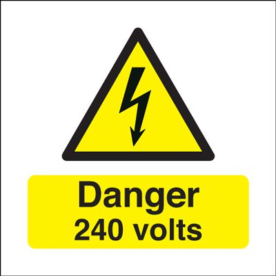 Danger 240 Volts Hazard Safety Sign - Square
