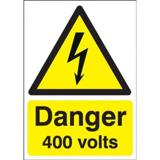 Danger 400 Volts Hazard Safety Sign