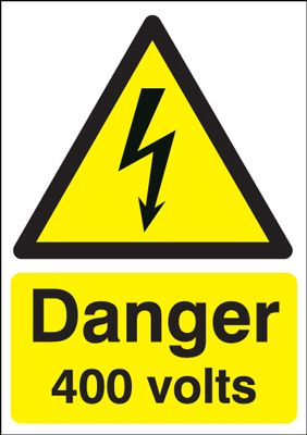Danger 400 Volts Hazard Safety Sign