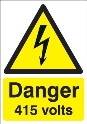 Danger 415 Volts Hazard Safety Sign