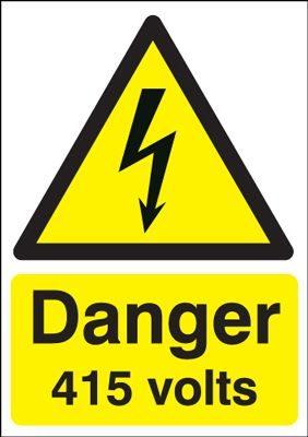 Danger 415 Volts Hazard Safety Sign
