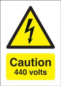 Danger 440 Volts Hazard Safety Sign
