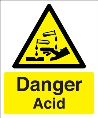 Danger Acid Hazard Safety Sign - Portrait