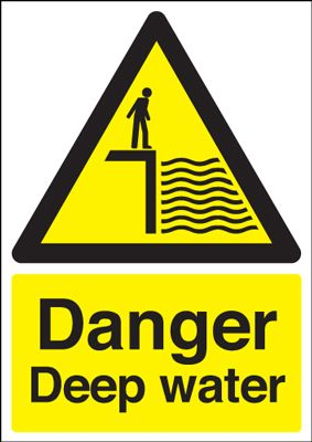 Danger Deep Water Hazard Safety Sign - Portrait