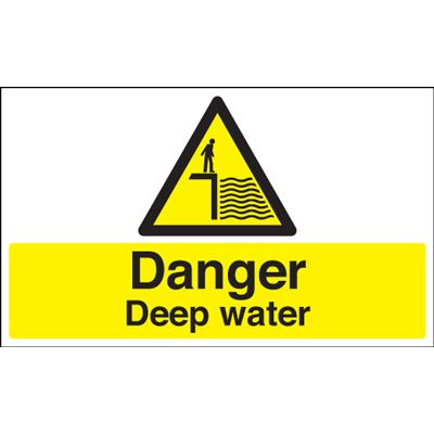 Danger Deep Water Hazard Safety Sign - Landscape