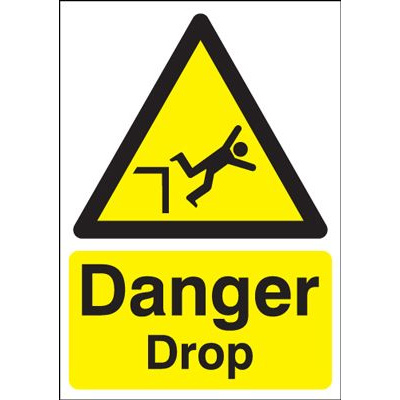 Danger Drop Hazard Safety Sign - Portrait