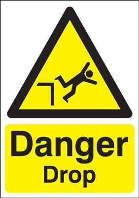 Danger Drop Hazard Safety Sign - Portrait