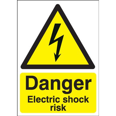 Danger Electric Shock Risk Hazard Safety Sign - Portrait