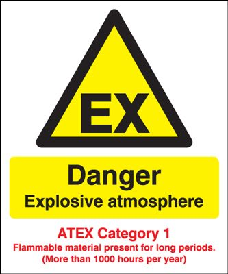 Danger Explosive Atmos/ATEX Cat 1 Safety Sign