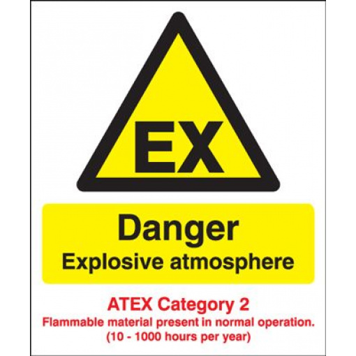 Danger Explosive Atmos/ATEX Cat 2 Safety Sign