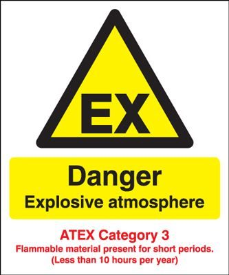 Danger Explosive Atmos/ATEX Cat 3 Safety Sign