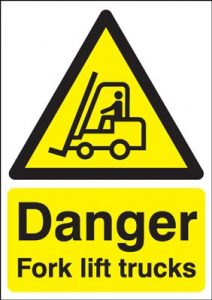 Danger Fork Lift Trucks Hazard Safety Sign