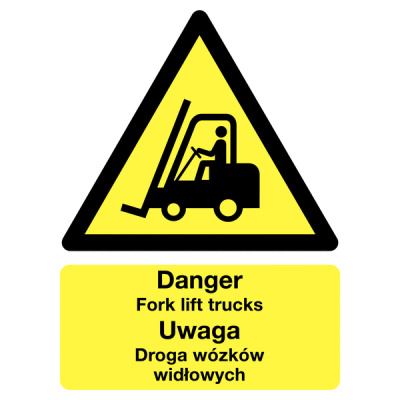 Polish / English Danger Fork Lift Trucks Multilingual Safety Sign