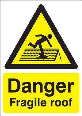 Danger Fragile Roof Safety Sign - Portrait