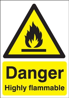 Danger Highly Flammable Safety Sign- Portrait