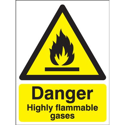 Danger Highly Flammable Gases Safety Sign - Portrait